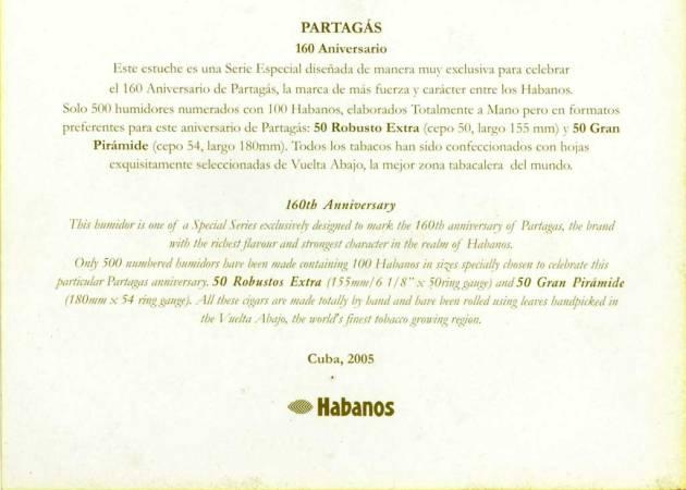 Partagas Humidor 160 Aniversario - flyer back