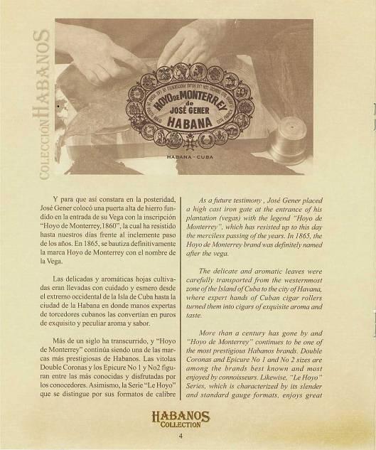 Colección Habanos 2003 - Hoyo de Monterrey Extravaganza - Booklet page 4