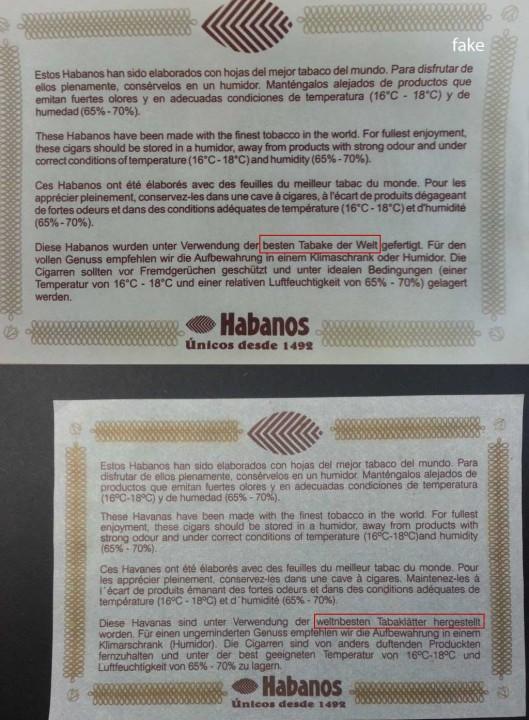 H. Upmann - Magnum 50 Edición Limitada 2005 - original vs. fake