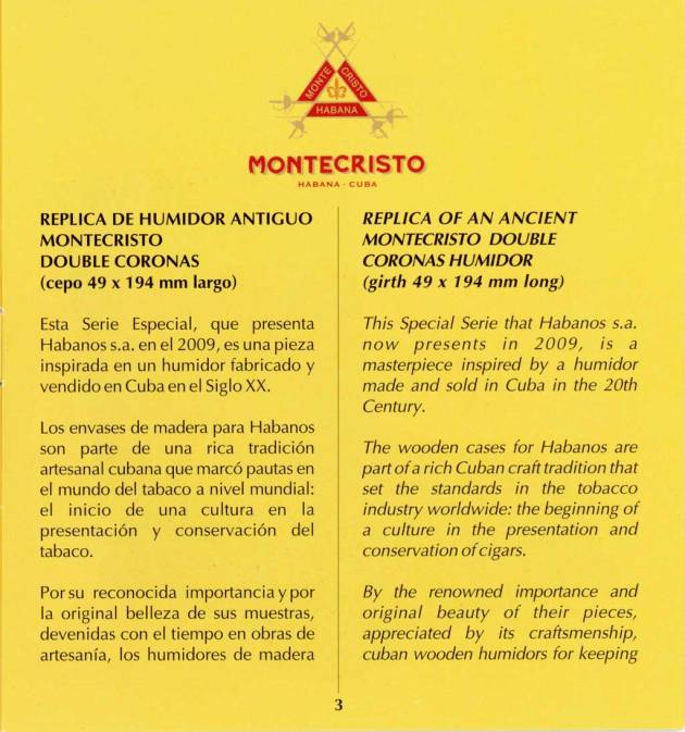 Montecristo - Réplica de Humidor Antiguo 2009 - booklet page 03