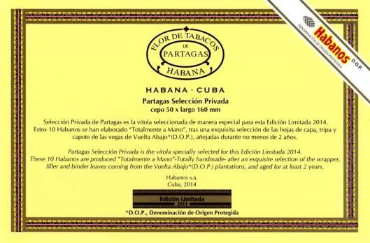 Partagás Selección Privada - Edición Limitada 2014 - Flyer