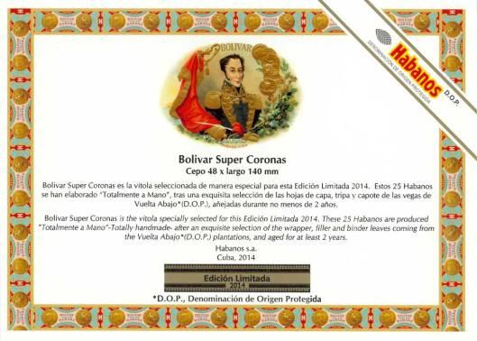 Bolivar - Super Coronas - Edición Limitada 2014 - Flyer