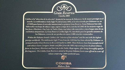 Cohiba Gran Reserva Coseca 2003 Description