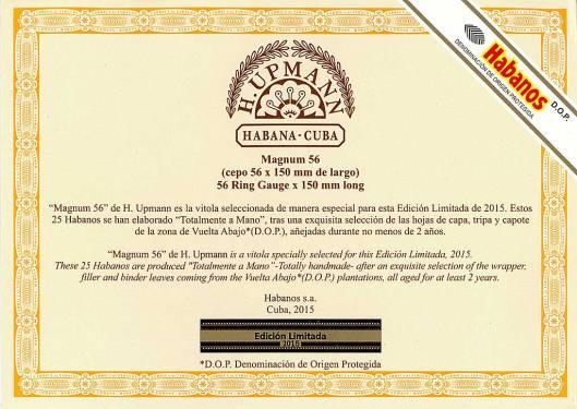 Flyer - H. Upmann Magnum 56 - Edición Limitada 2015