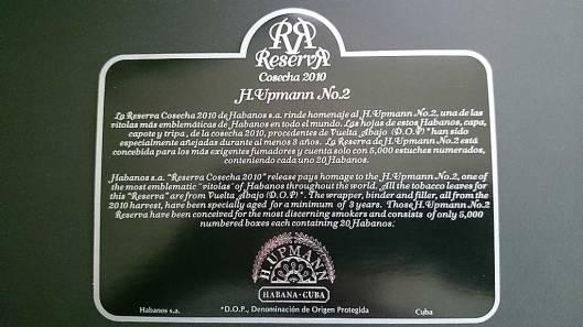 H. Upmann - No.2 Reserva Cosecha 2010 - Flyer