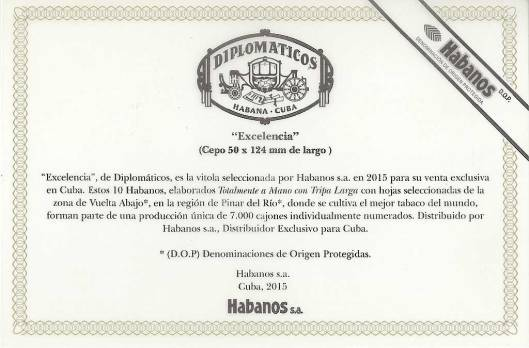 Diplomaticos Excelencia - Edición Regional Cuba - Flyer