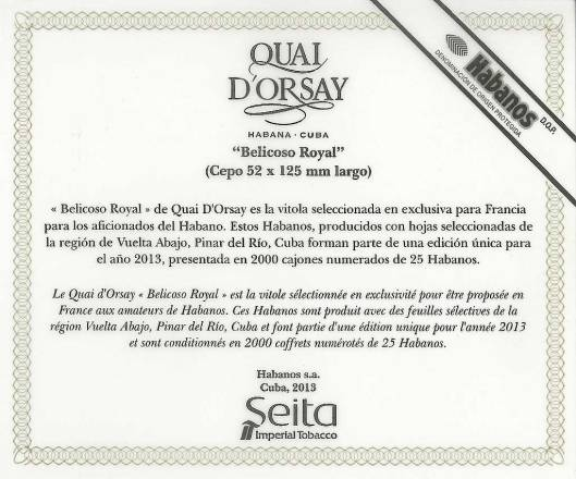 Quay d'Orsay Belicoso Royal - Edición Regional France - Flyer