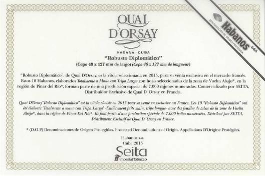 Quay d'Orsay Robusto Diplomatico - Edición Regional France - Flyer