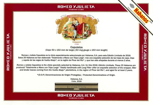 Romeo Y Julieta - Capuletos Edición Limitada 2016 - Flyer